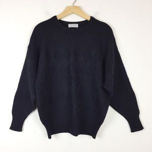 Vintage black wool sweater geometric knit loose